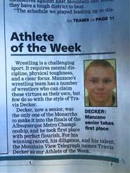 Travis Decker Athlete of the Week